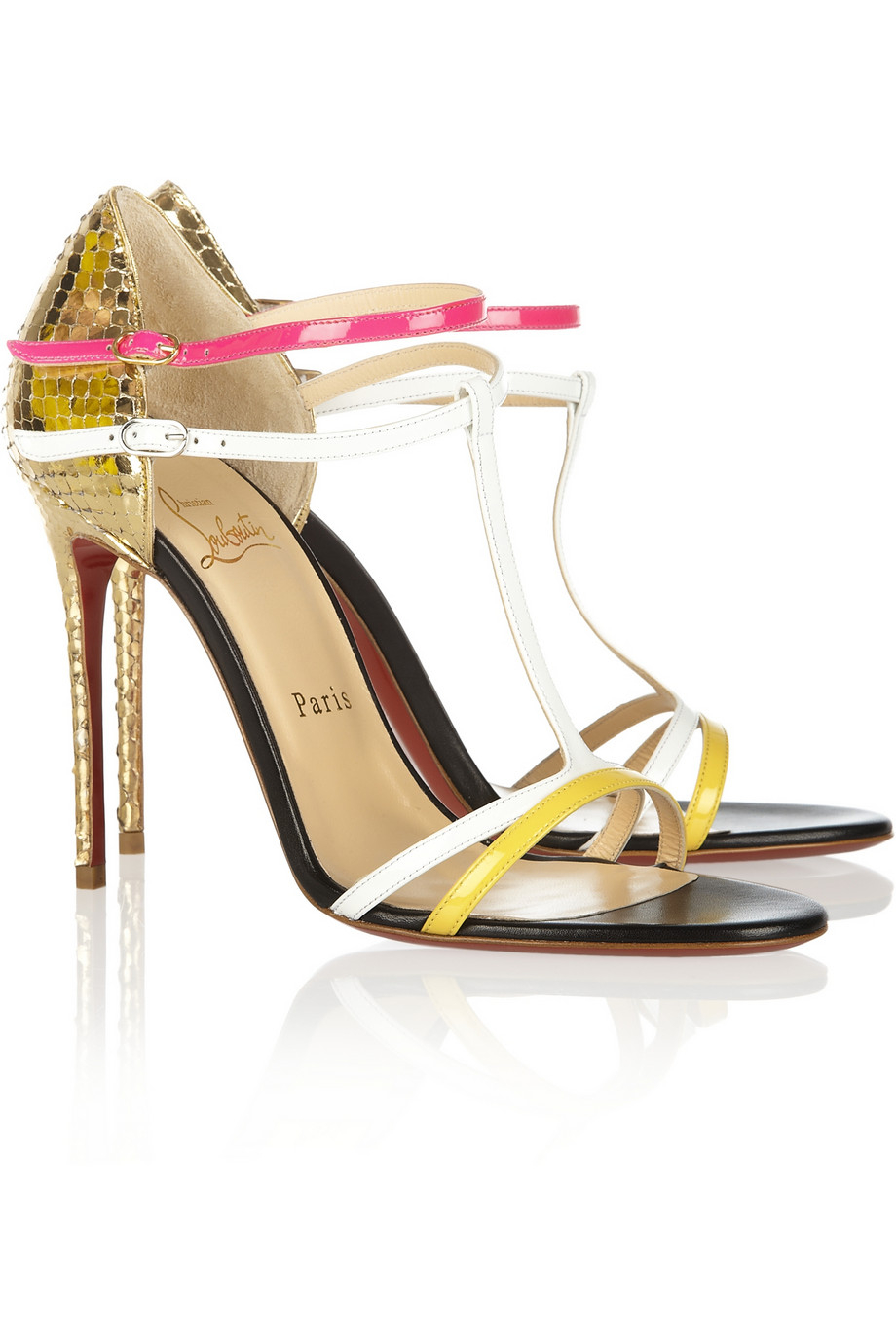 52876a02e36 ... cheapest lyst christian louboutin arnold 100 patent leather sandals in  metallic 3e7af 29e52