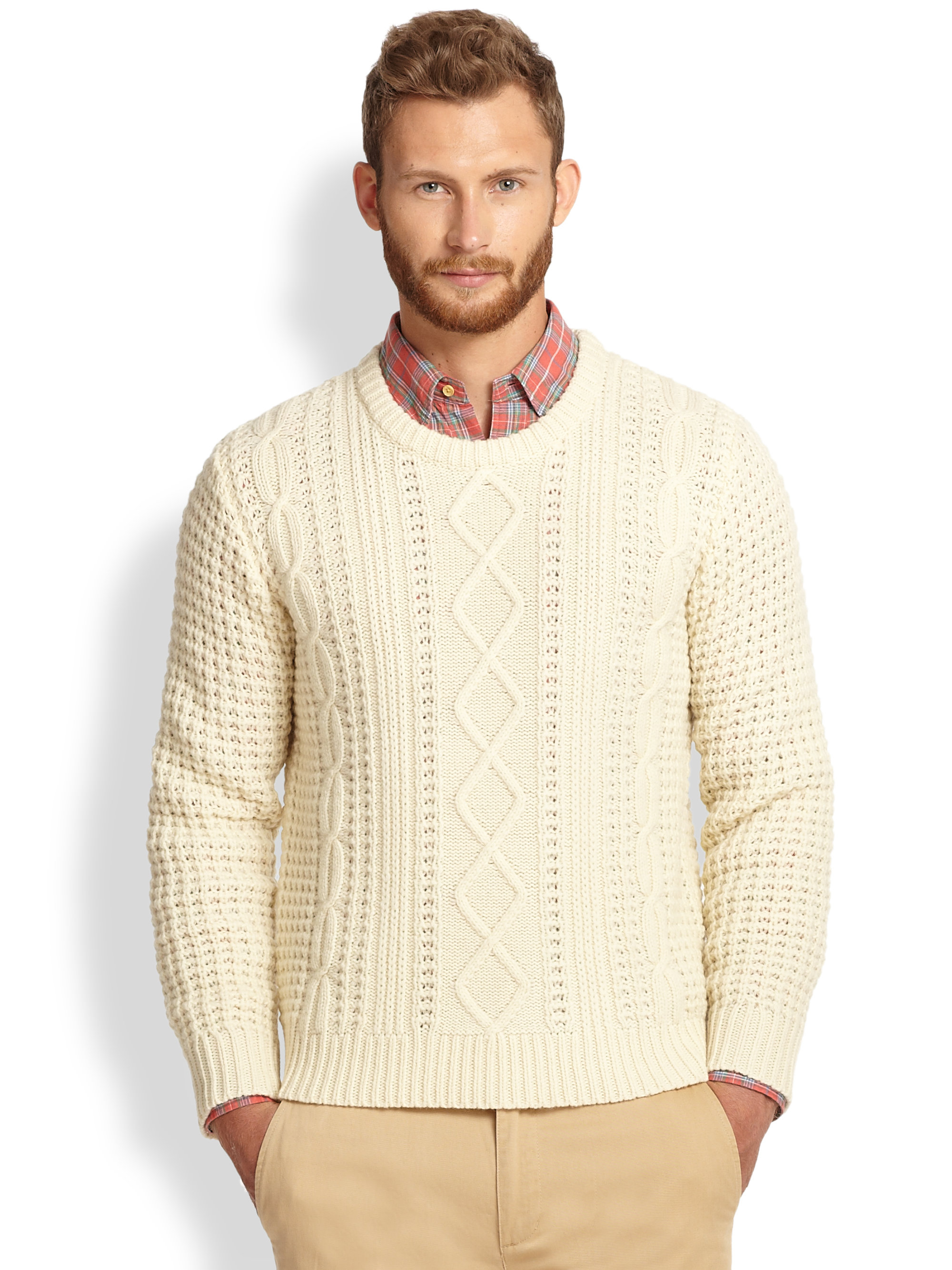 826ab4e32 Lyst - Gant Rugger Lambswool Cable Knit Sweater in Natural for Men
