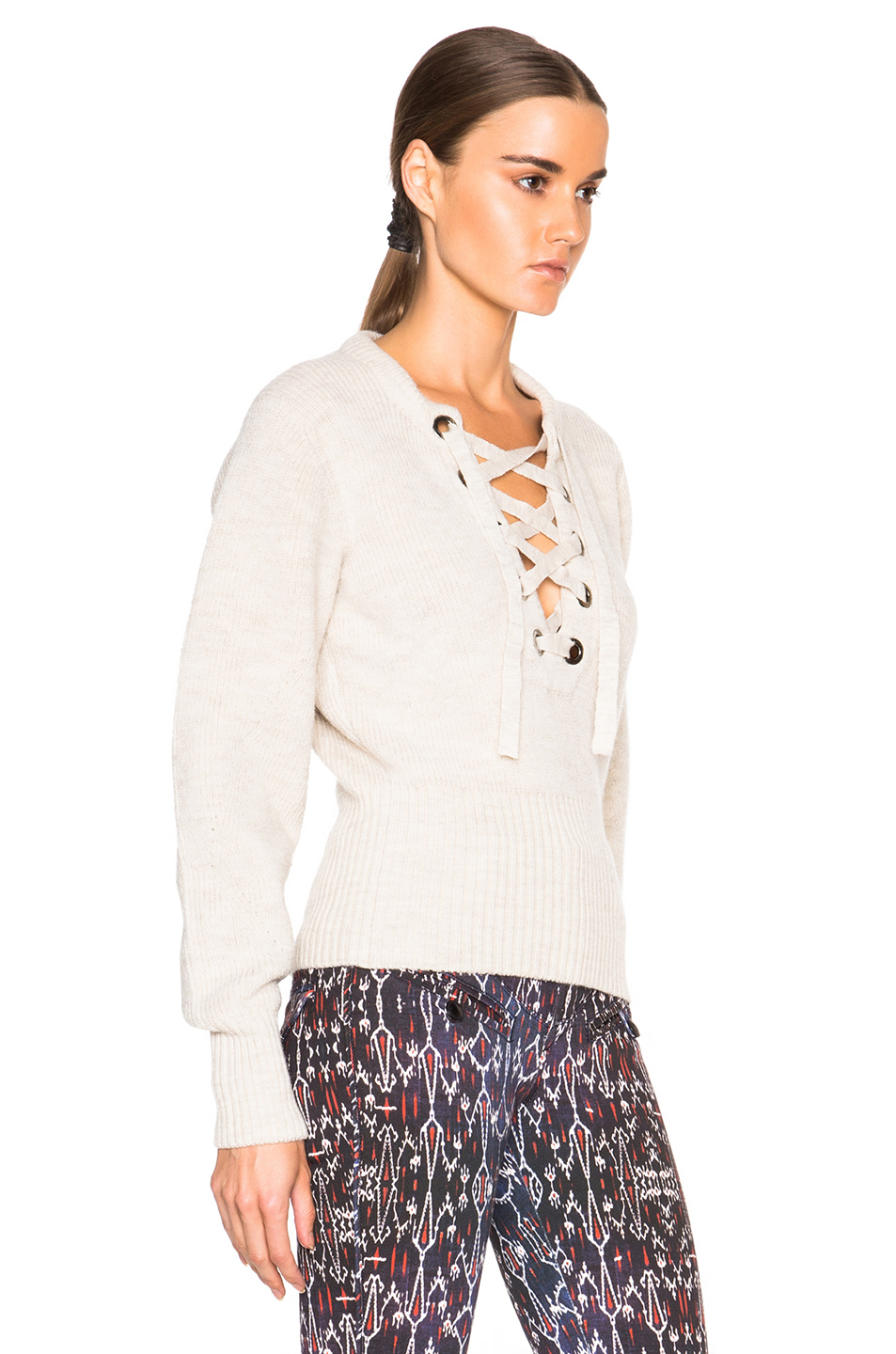 e49793c35b Lyst - Isabel Marant Charley Lace Up Sweater in Natural