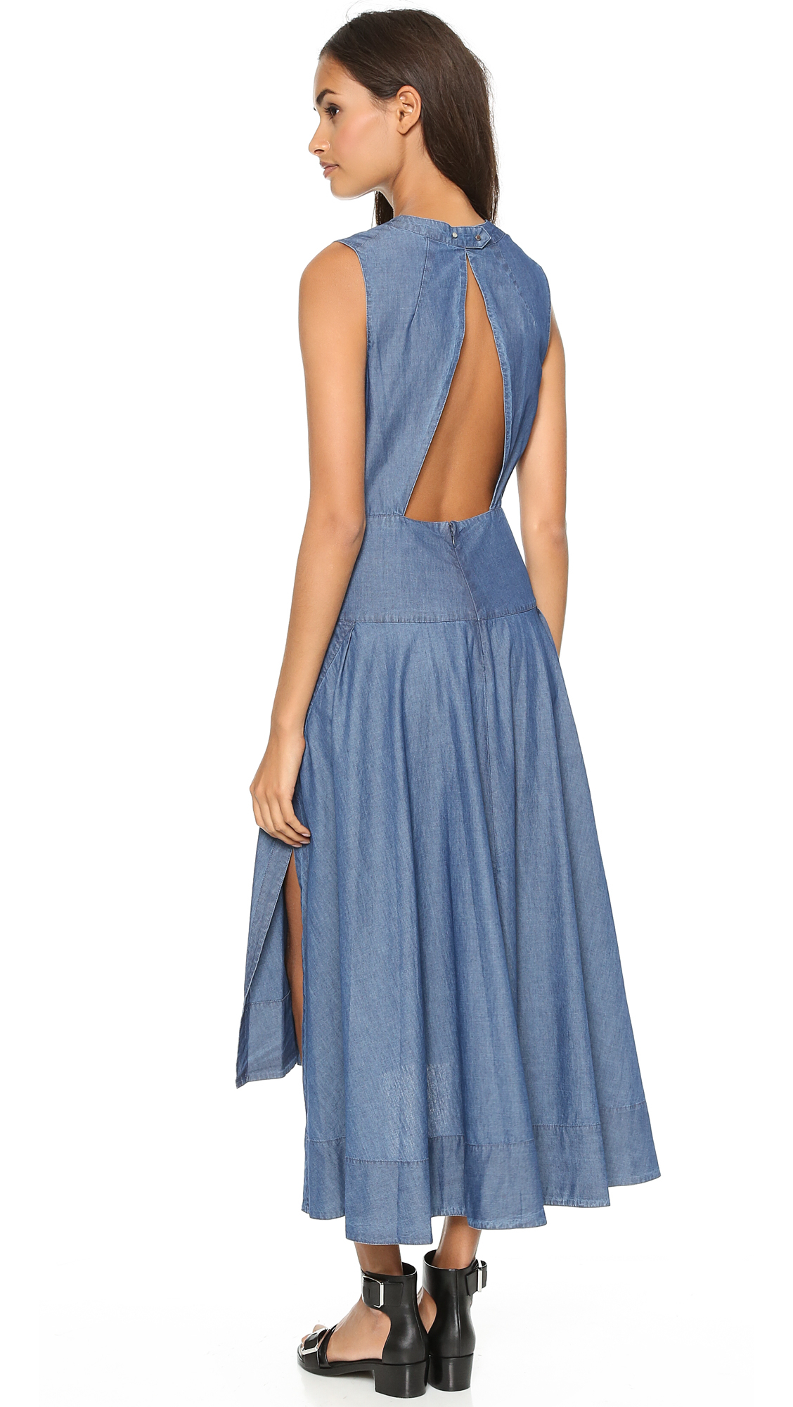 Lyst robert rodriguez chambray seamed maxi dress blue for Chambray dress