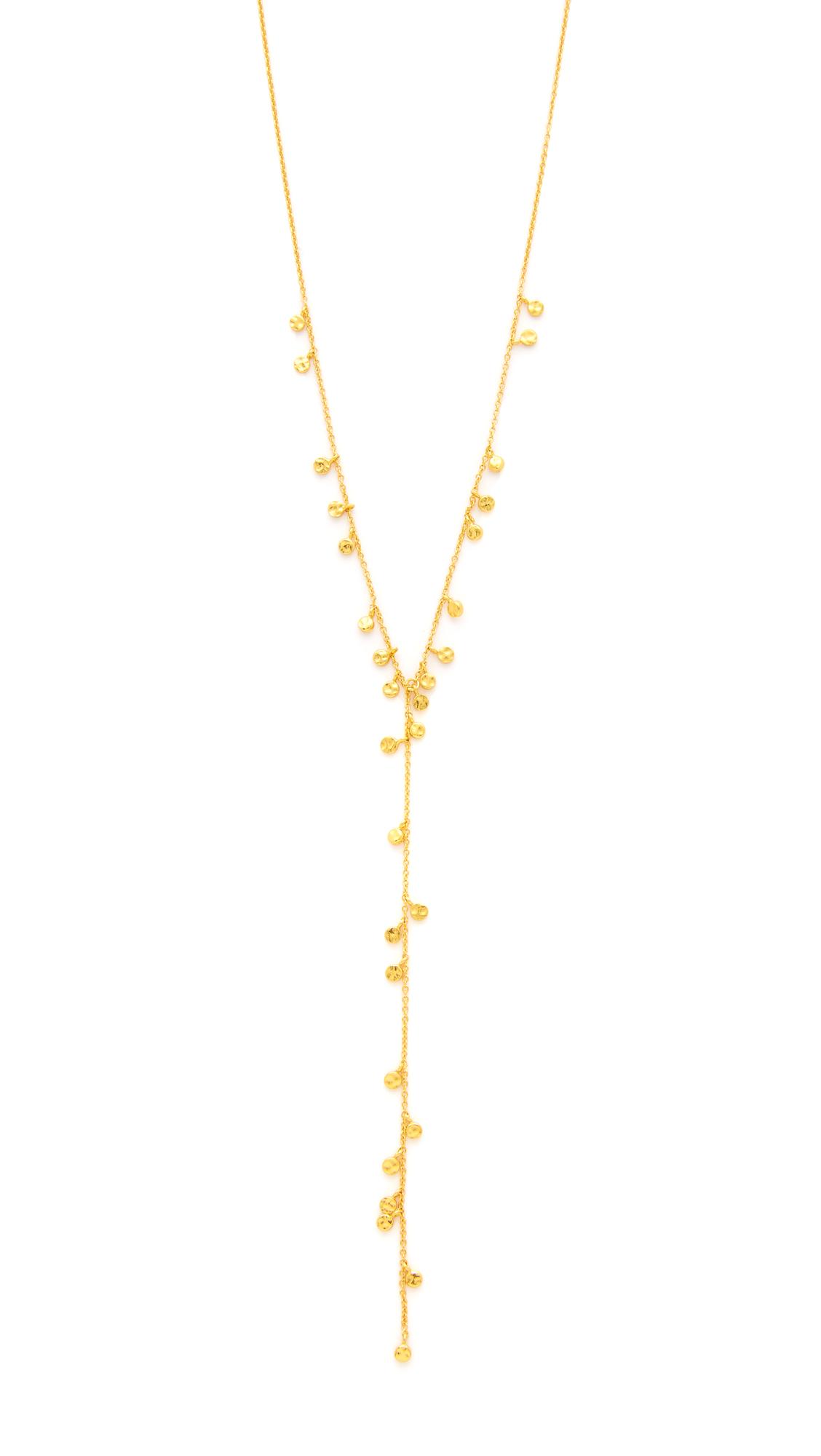 gorjana mini lariat necklace in metallic lyst