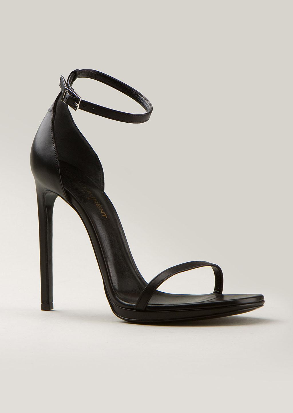Saint Laurent Black Leather High Heels Sandals In Black Lyst