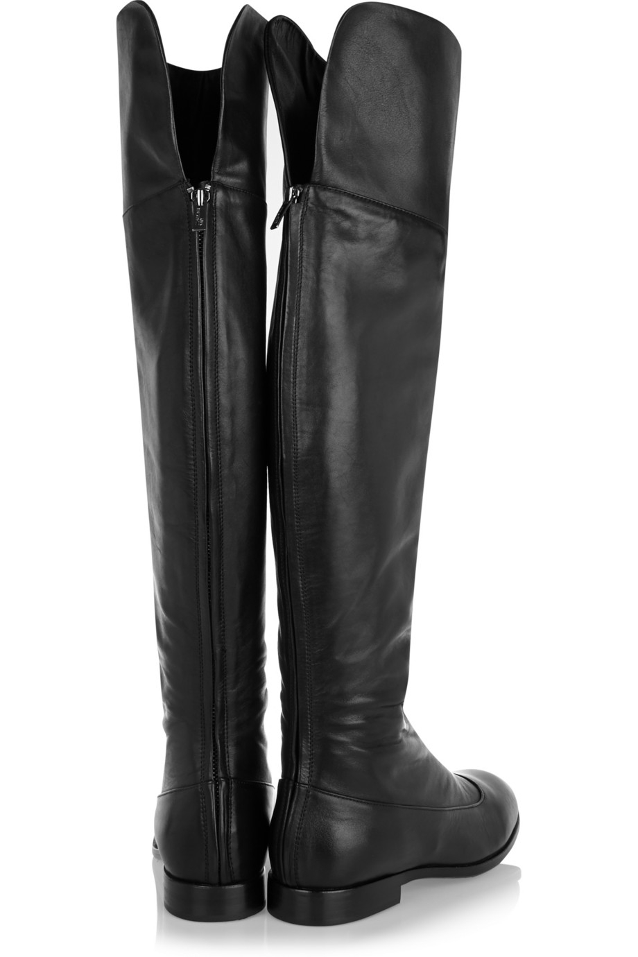 Black Leather Over The Knee Boots - Cr Boot