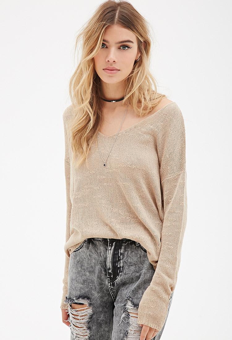 166f10329c Lyst - Forever 21 Slub Knit V-neck Sweater in Brown