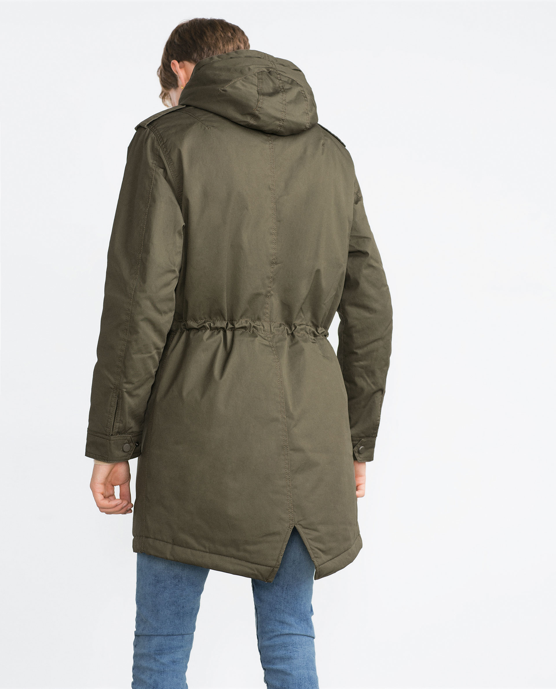 Zara Quilted Parka In Green For Men Lyst