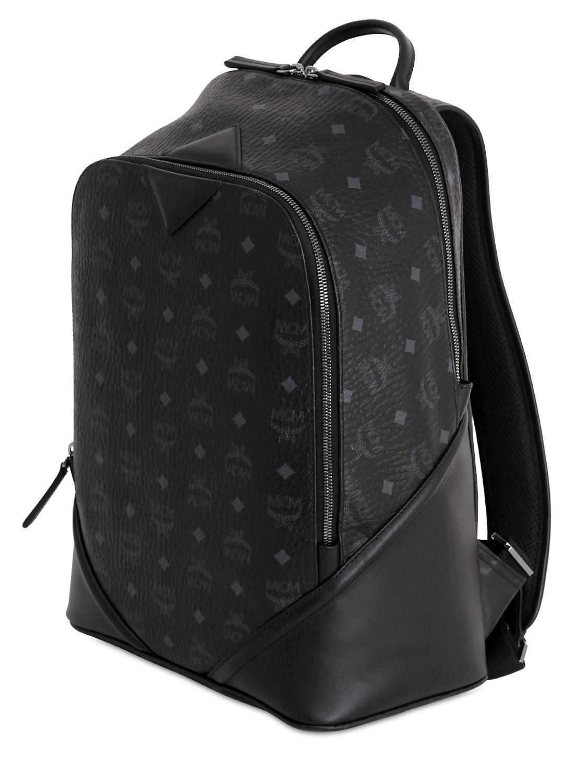 Mcm Medium Duke Coated Canvas Backpack in Black