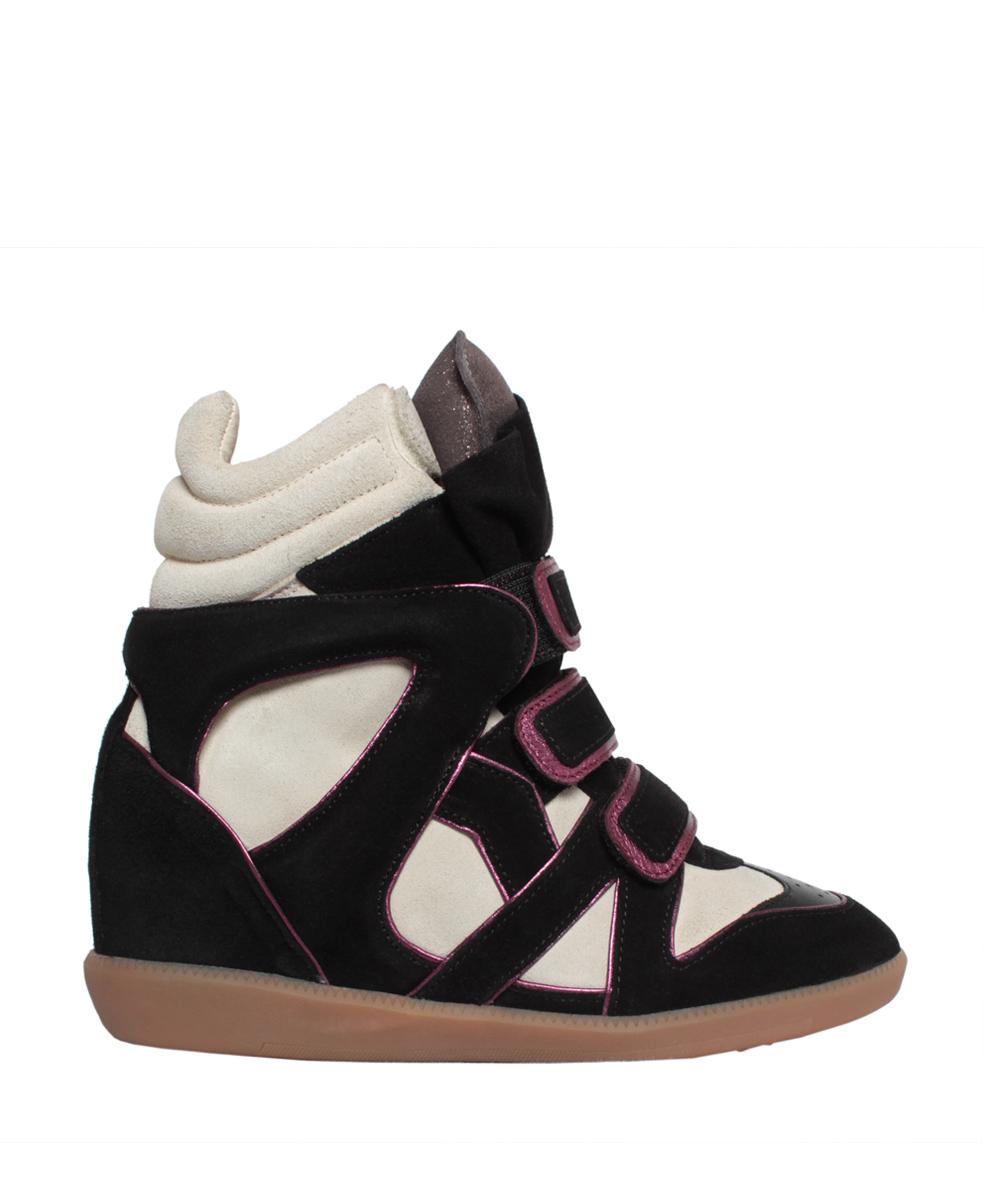 isabel marant wila concealed wedge suede sneakers in black. Black Bedroom Furniture Sets. Home Design Ideas