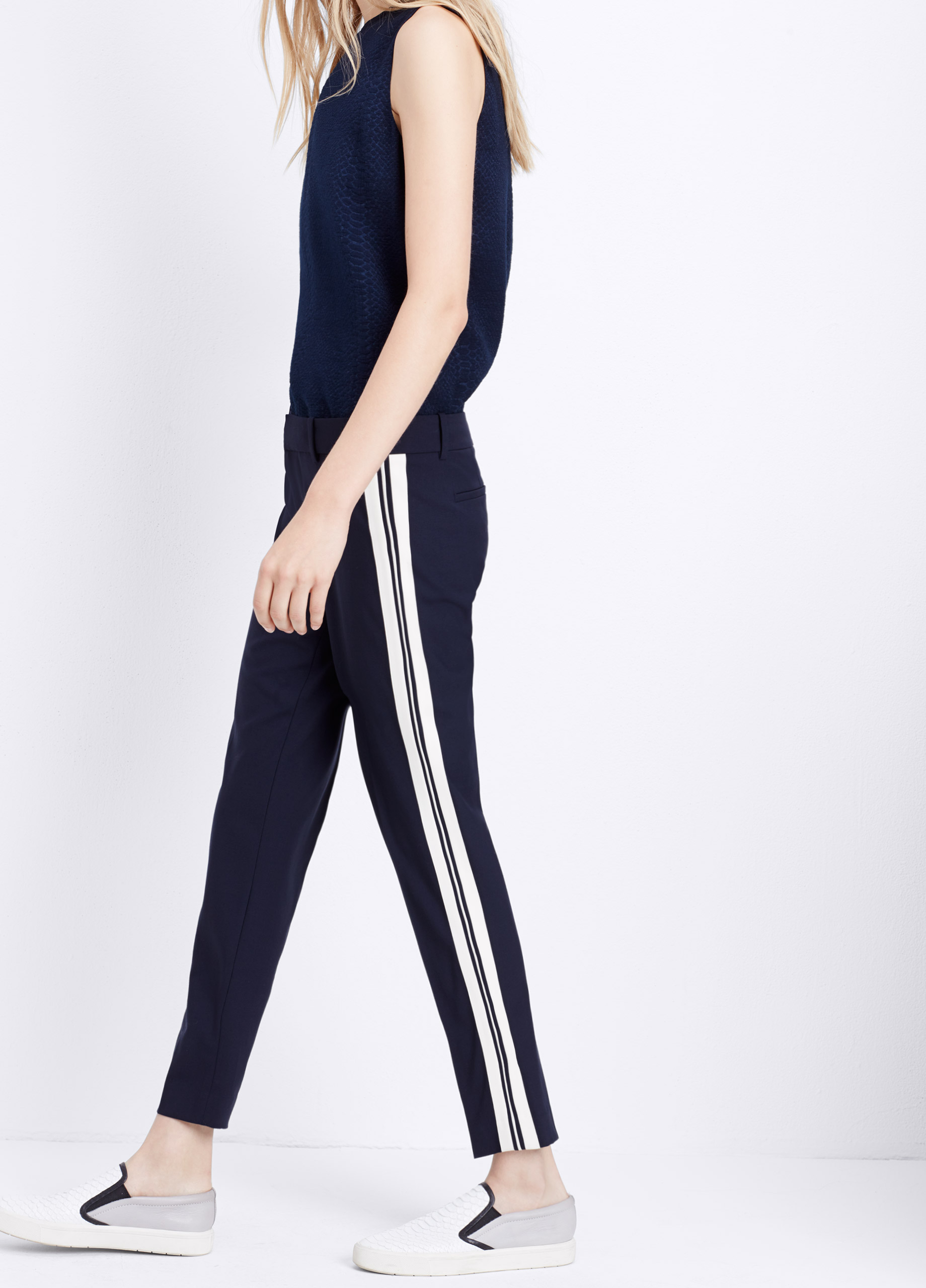 Lyst Vince Tropical Wool Triple Striped Strapping