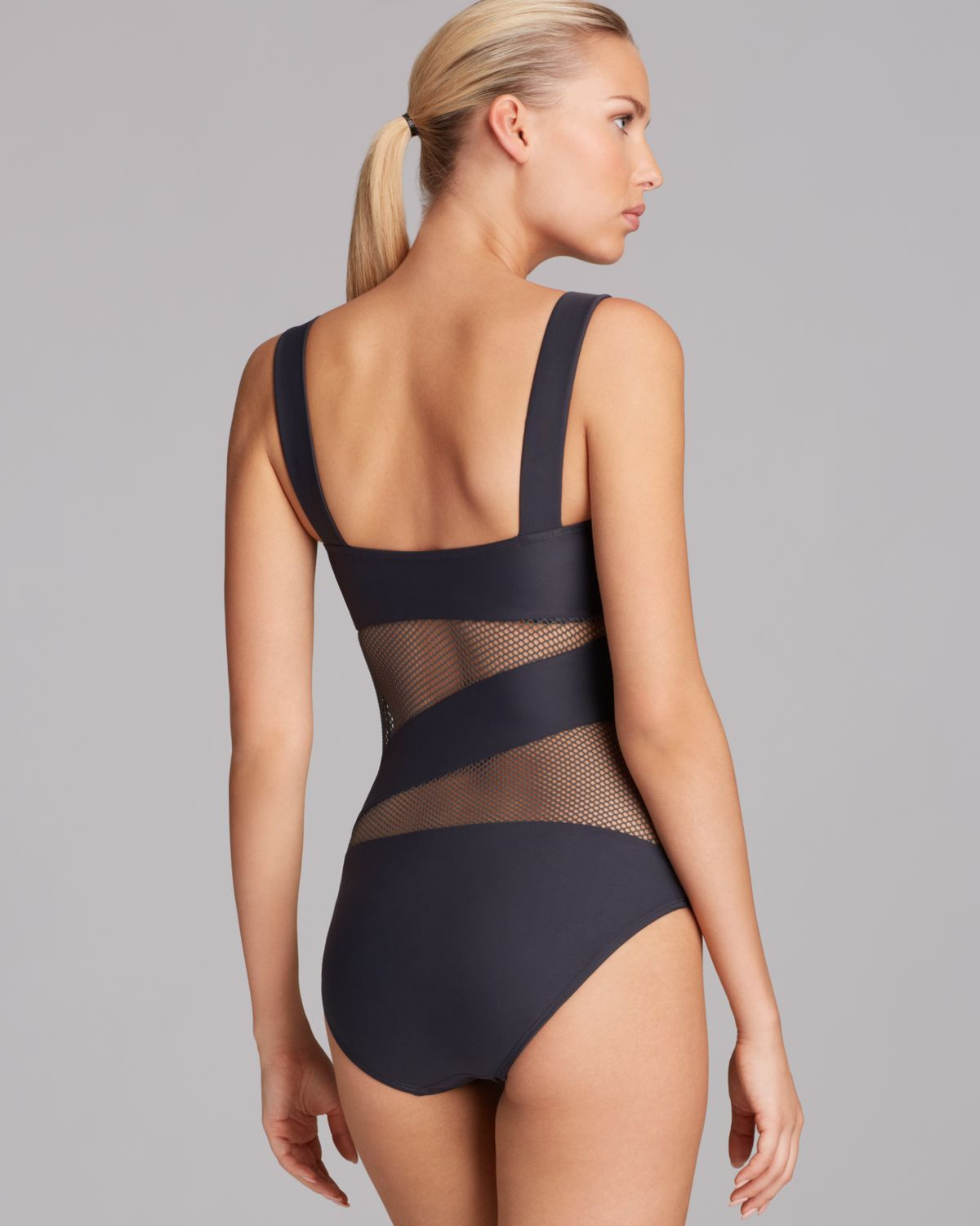 e9cef01aa86af DKNY Solid Mesh Splice Maillot One Piece Swimsuit in Black - Lyst