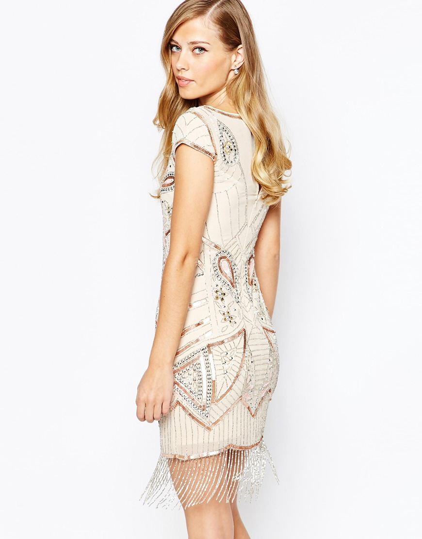 ... and frill All Over Embellished Tassel Hem Flapper Dress in Pink | Lyst