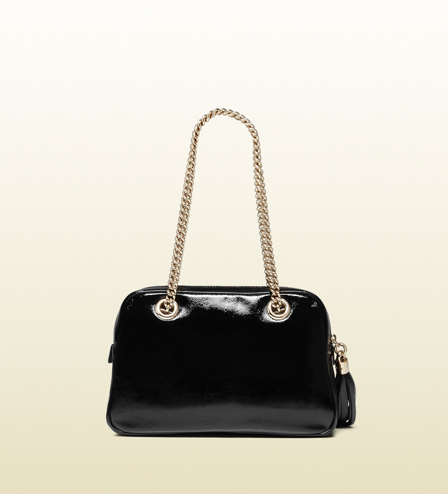 a4e63ce9bf33 Gucci Soho Soft Patent Leather Chain Shoulder Bag in Black - Lyst