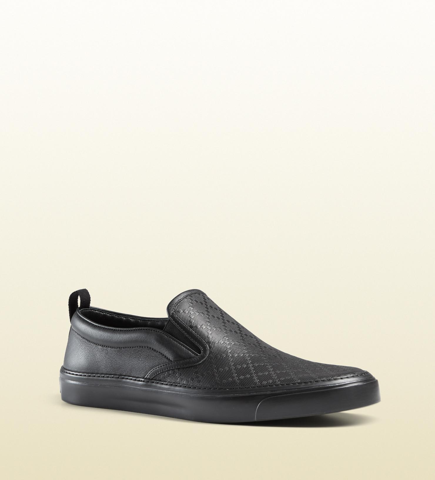 30331193d7f3 Gucci Diamante Leather Slip-on Sneaker in Black - Lyst