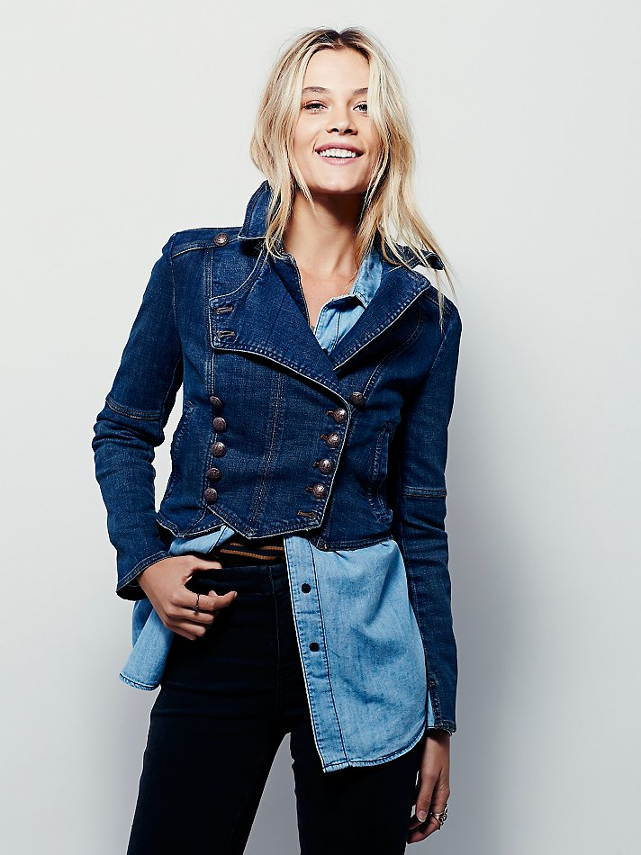 Lyst Free People Denim Military Band Jacket In Blue