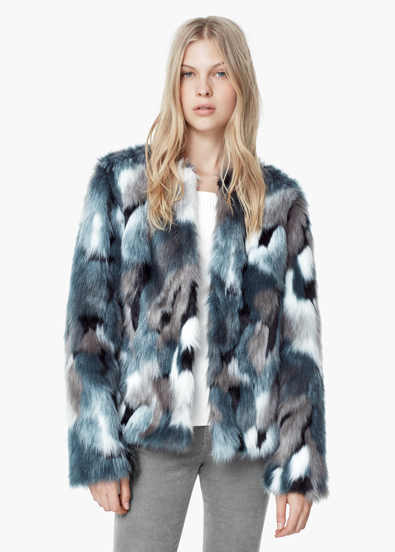 Mango Faux Fur Coat in Blue | Lyst