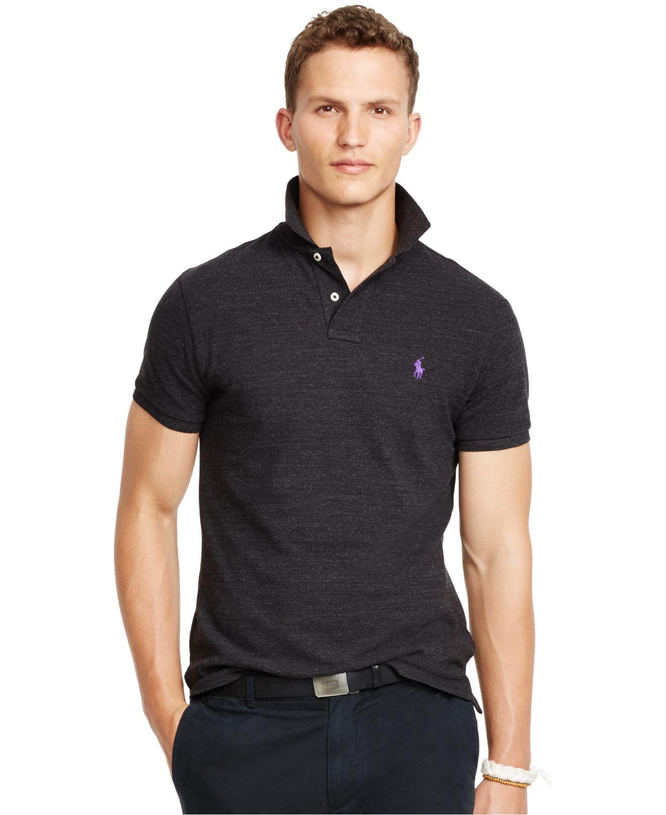 Polo ralph lauren custom fit mesh polo shirt in black for for Polo ralph lauren custom fit polo shirt