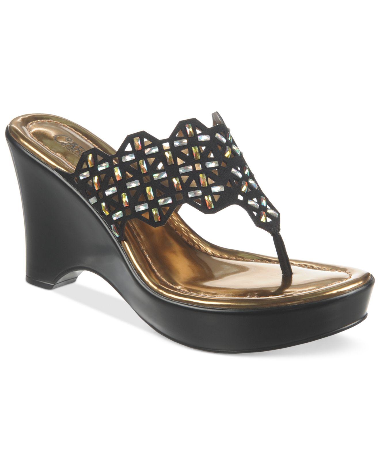0b8948f35db Lyst - Carlos By Carlos Santana Kaffir Platform Thong Sandals in Black