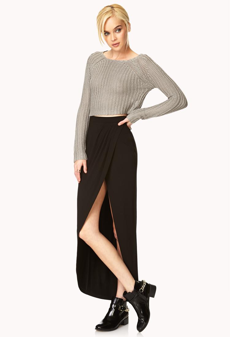 forever 21 tulip maxi skirt in black lyst