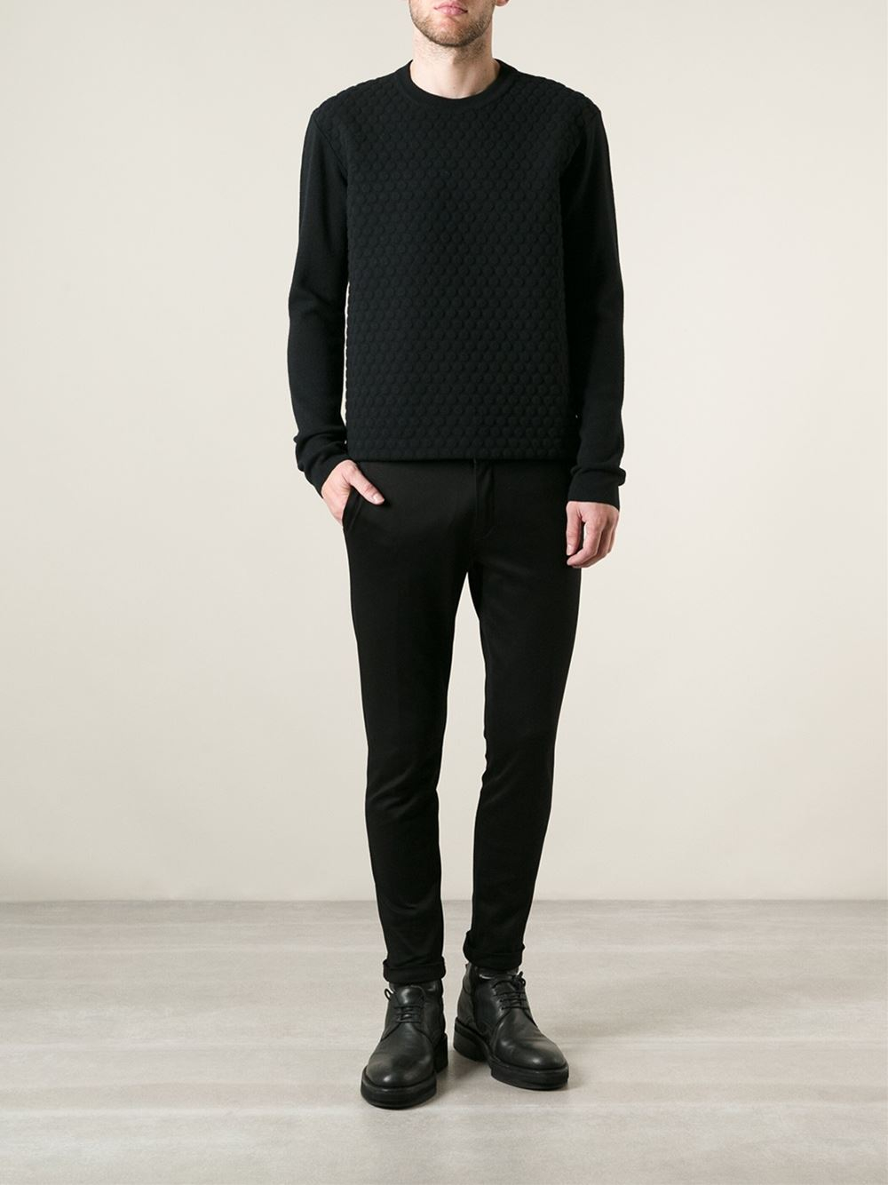 lyst jil sander bubble textured sweatshirt in black for men. Black Bedroom Furniture Sets. Home Design Ideas
