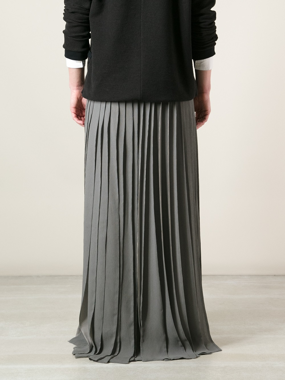 Gareth pugh Pleated Maxi Skirt in Gray for Men | Lyst