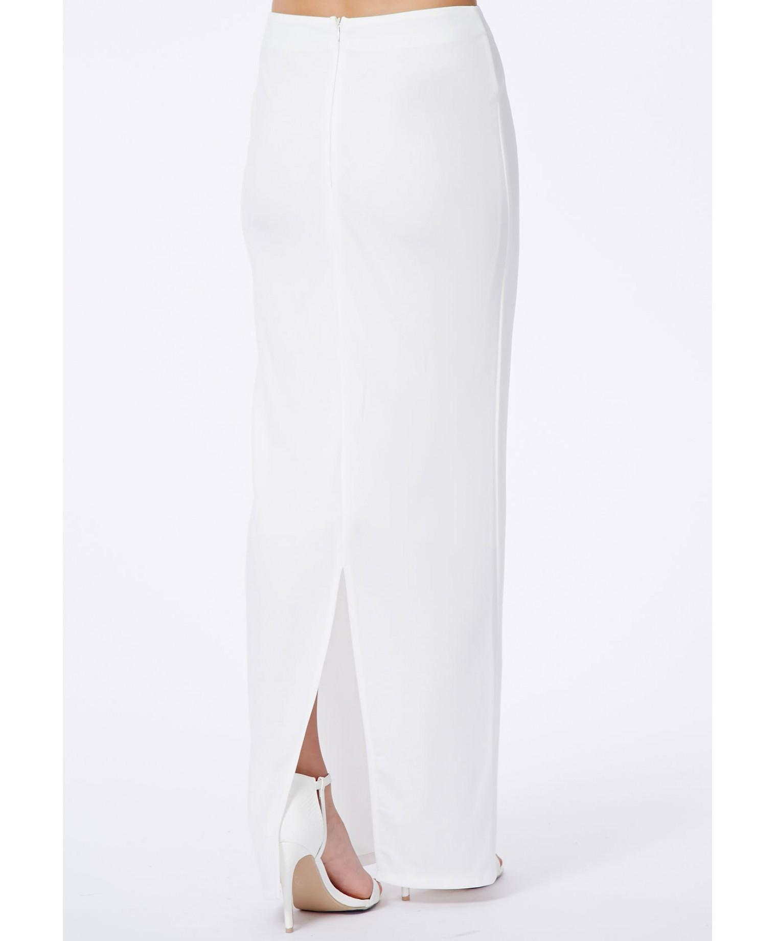 missguided amla white split crepe maxi skirt in white lyst