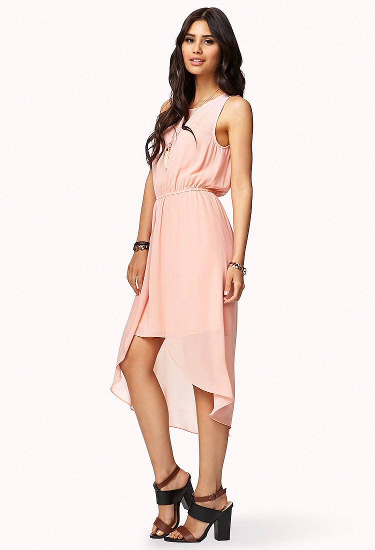 Forever 21 Sweetheart Highlow Dress in Pink (peach) | Lyst