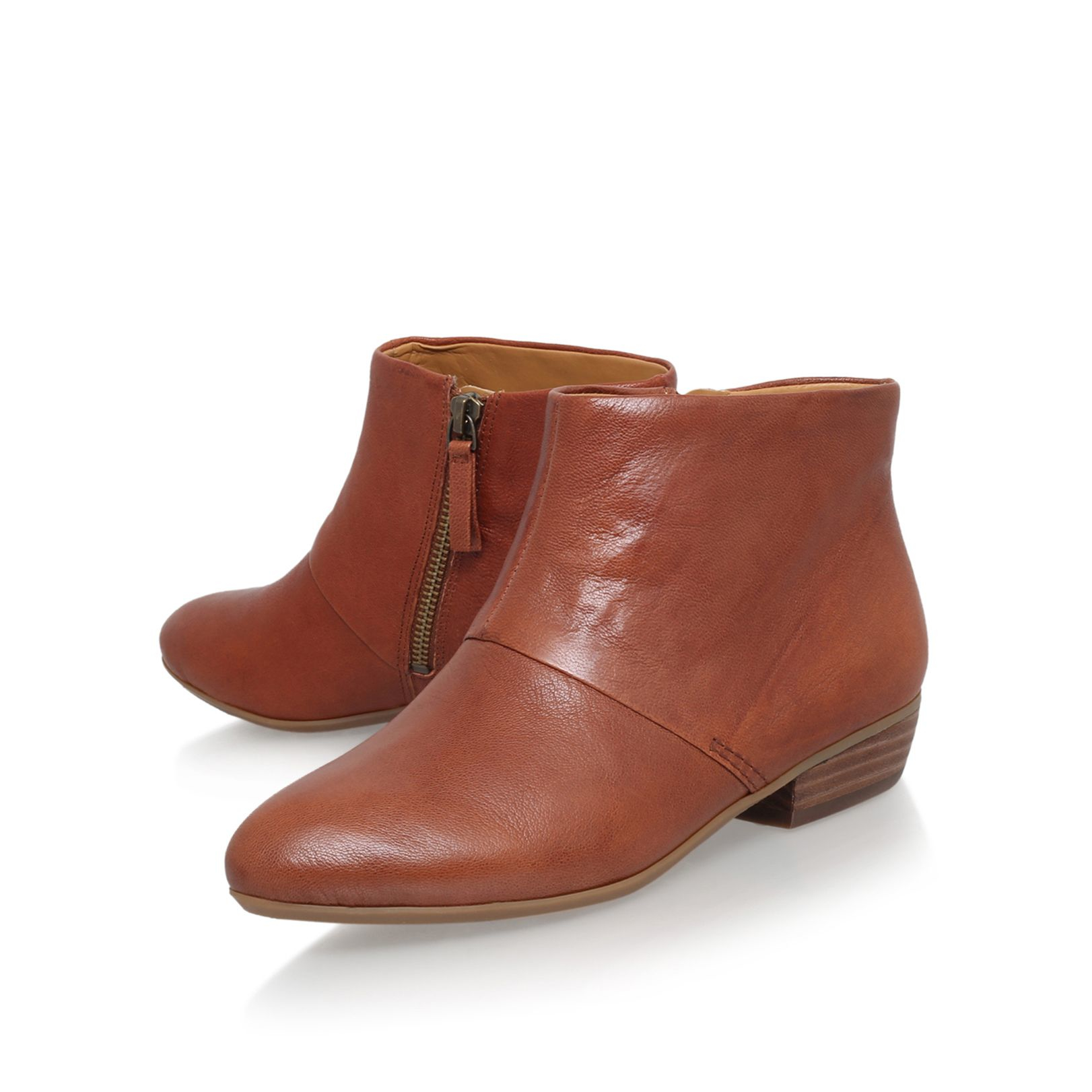 nine west ezout flat ankle boots in brown lyst