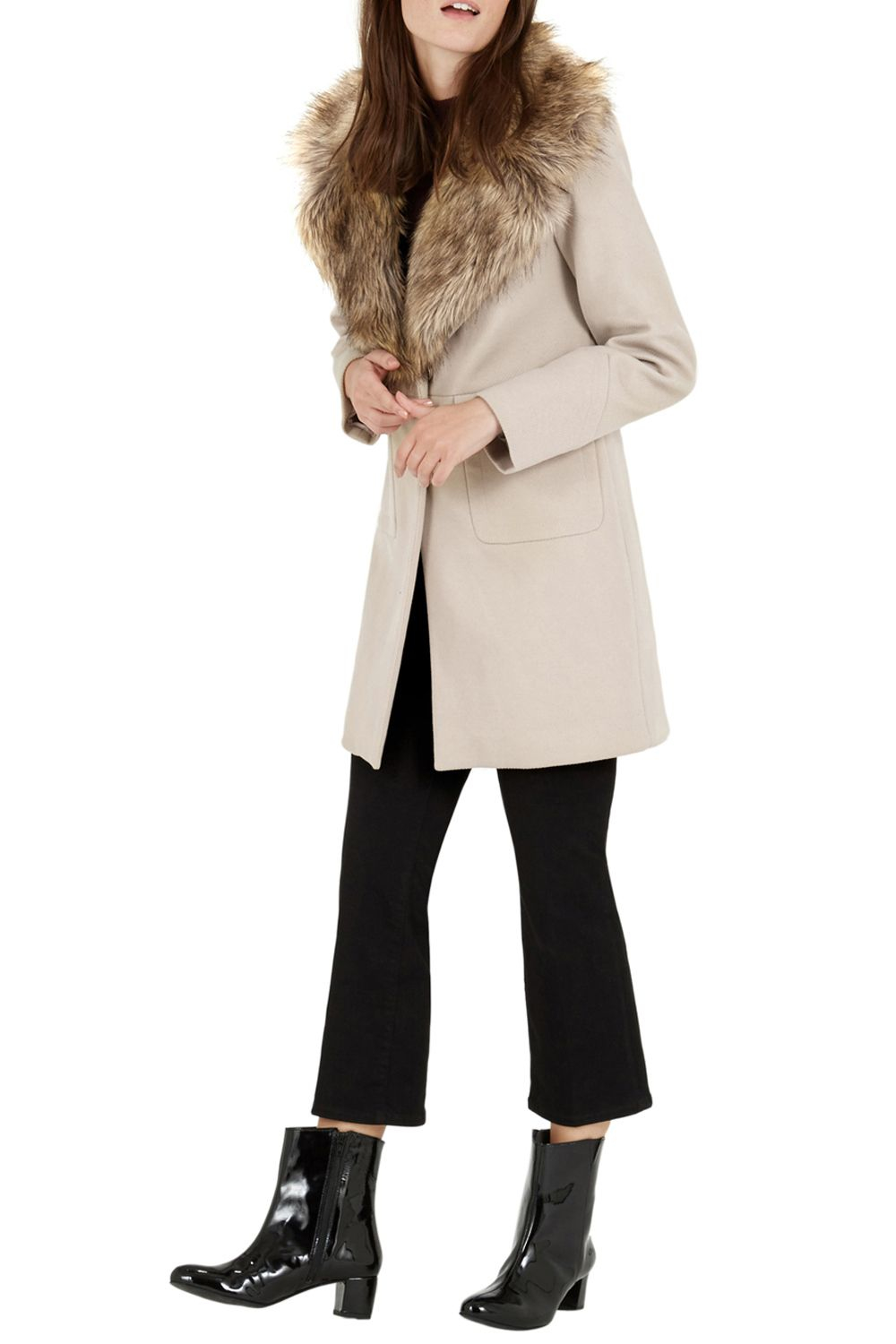 Warehouse Extreme Faux Fur Collar Coat in Natural | Lyst