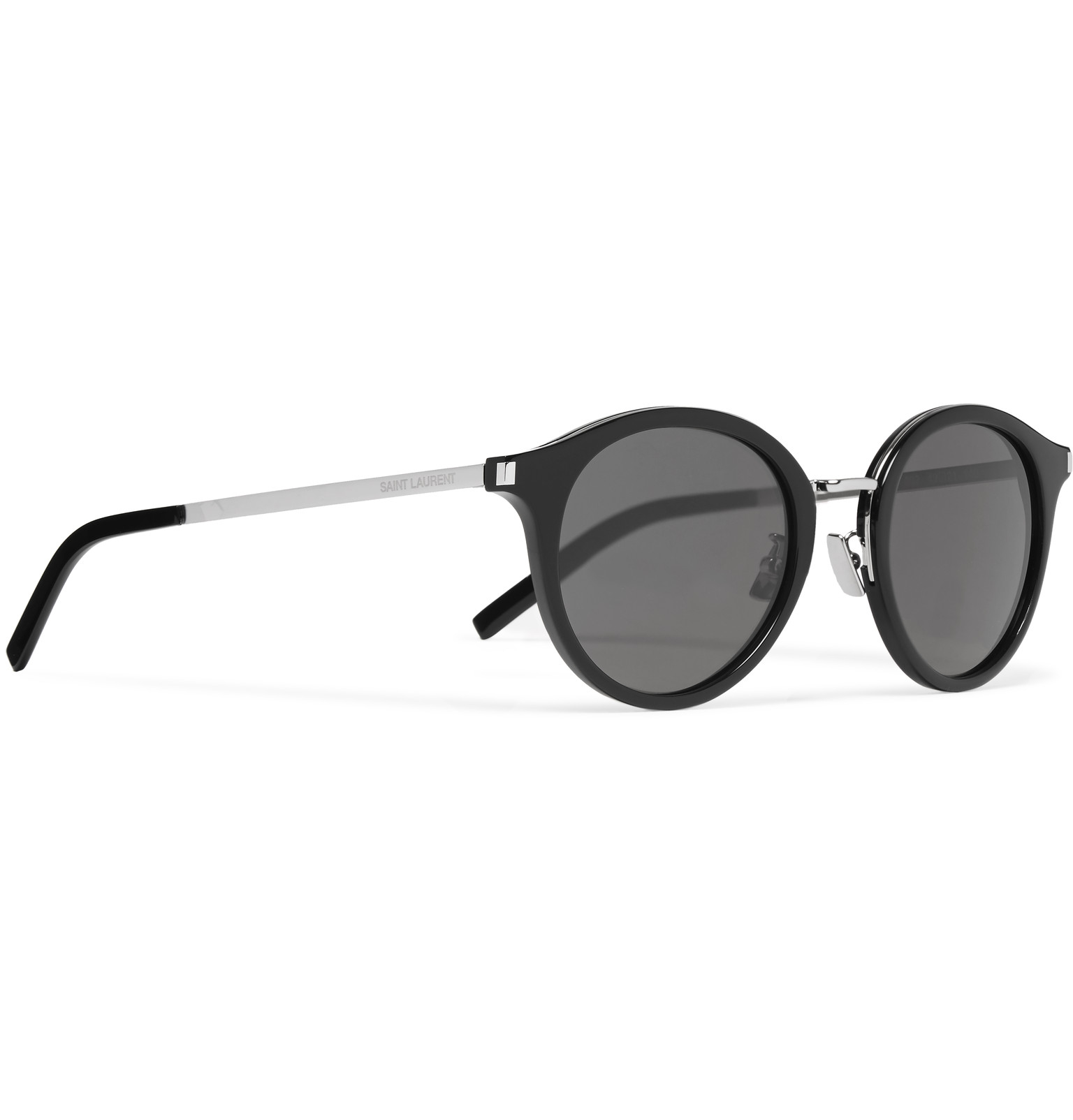 f96257a9c15 Saint Laurent Round-frame Acetate And Silver-tone Sunglasses in ...