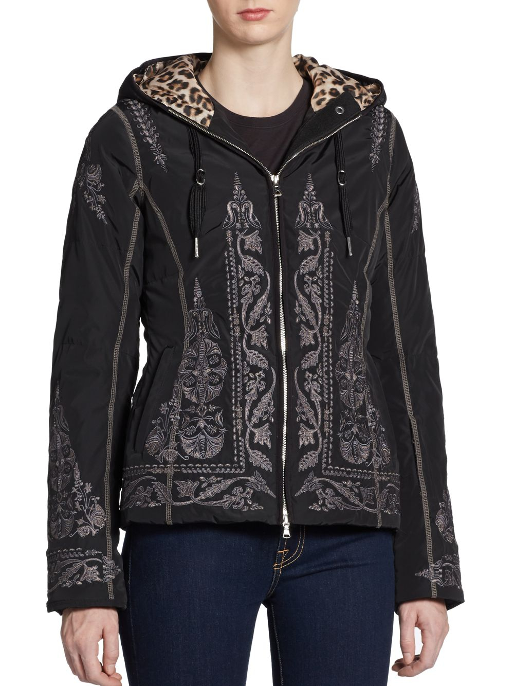 Bogner Embroidered Hooded Down Jacket In Animal   Lyst
