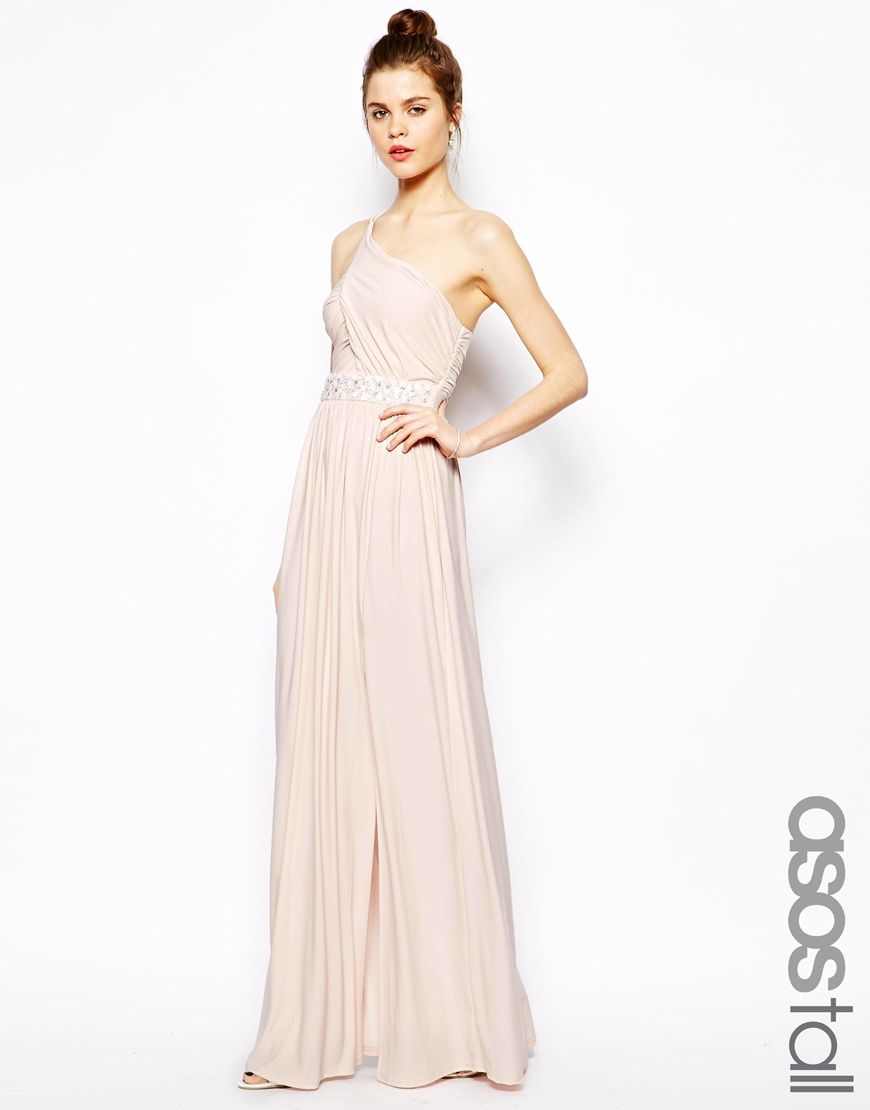 Lyst Asos Embellished Maxi Dress With One Shoulder In Pink