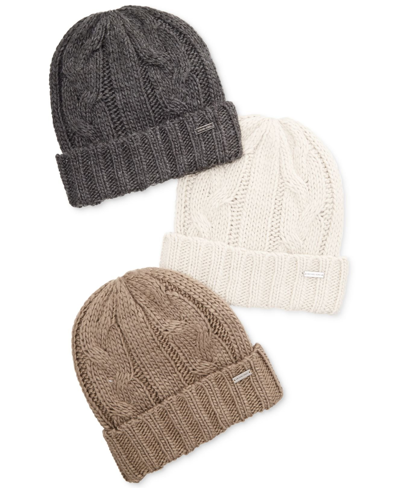 b770b6391f5f Lyst - Michael Kors Hand-Knit Cable Cuff Hat in Brown for Men