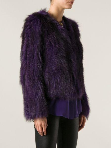 michael michael kors fluffy jacket in purple  pink  u0026 purple