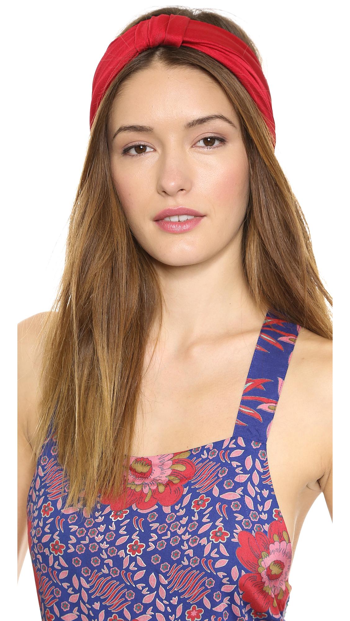 Lyst - Jennifer Behr Silk Jersey Turban Headband - Sienna in Red 6a29c824fb9