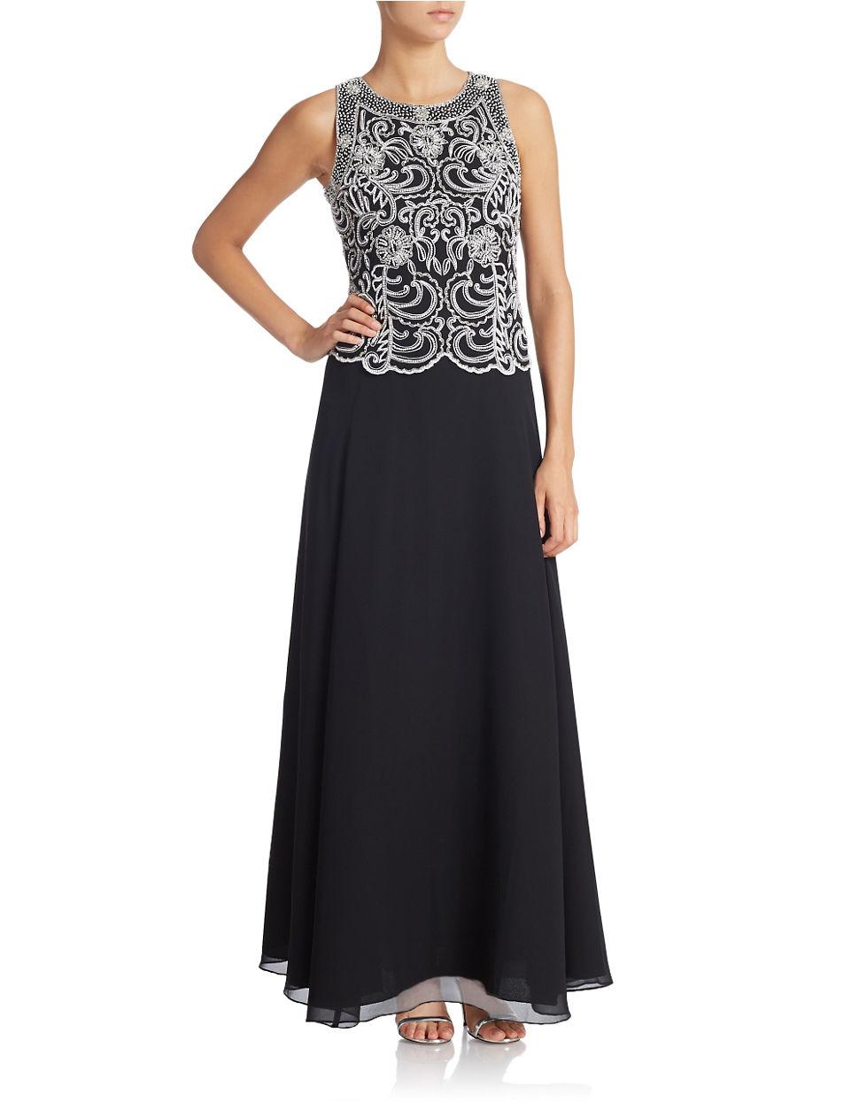 J Kara Beaded Chiffon Gown In Black Lyst