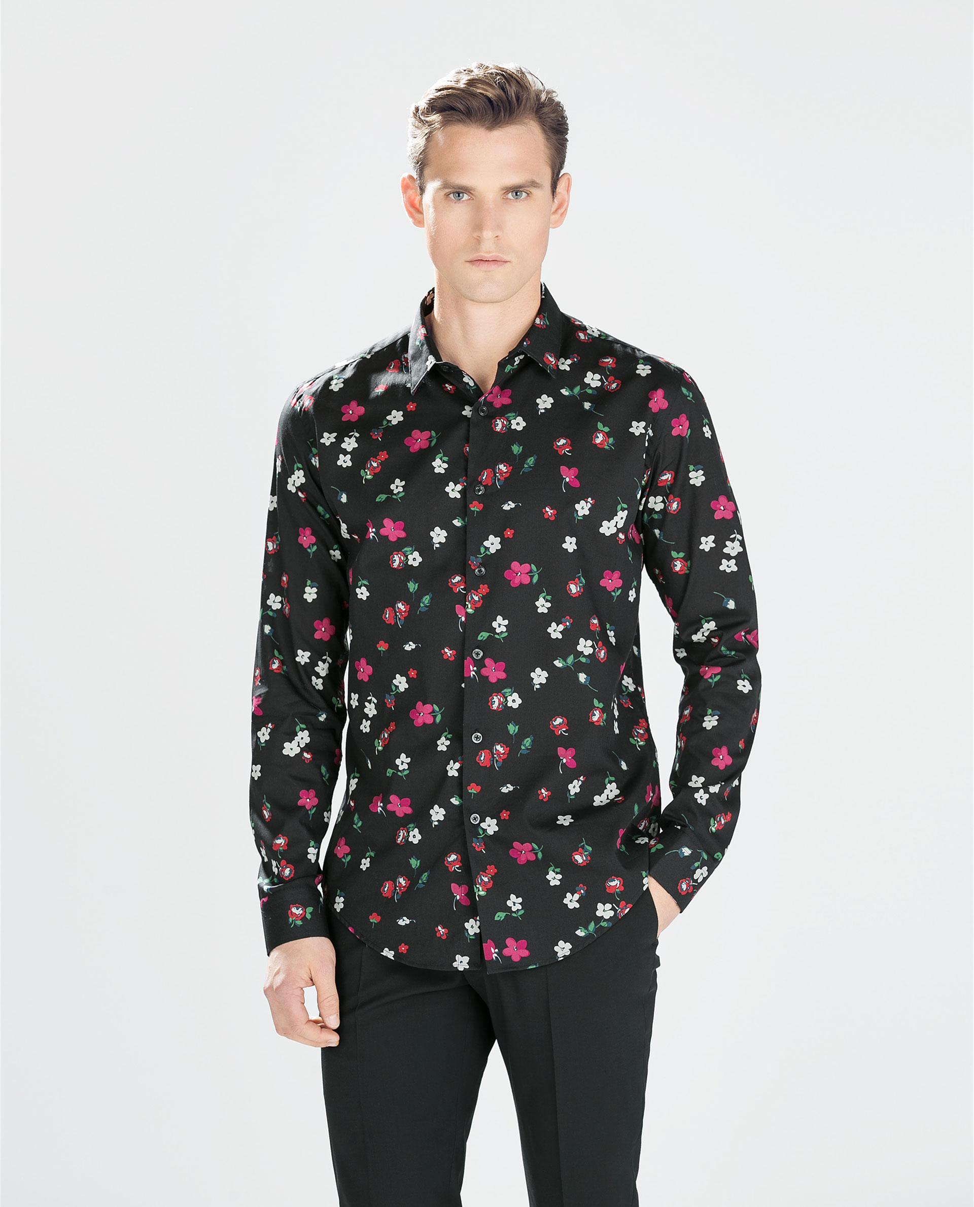 Zara floral print shirt in black for men lyst for Zara mens floral shirt