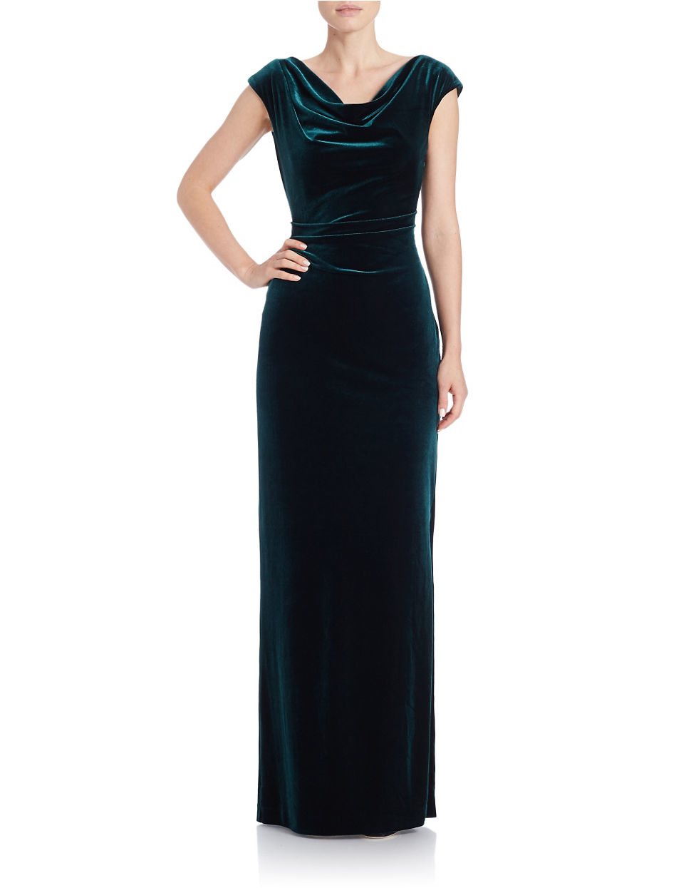 Lyst - Vince Camuto Velvet Cowlneck Gown in Green