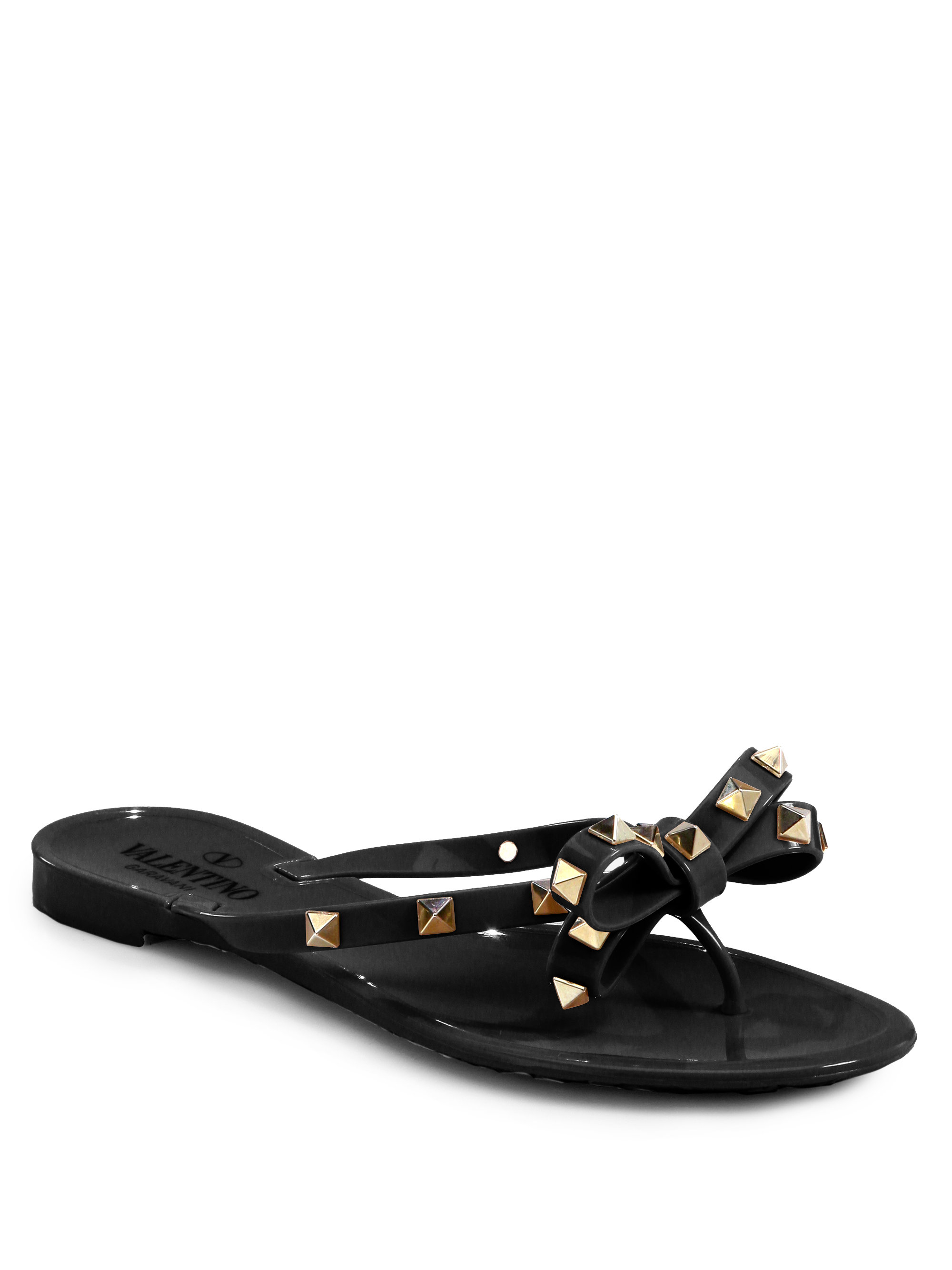 lyst valentino rockstud pvc flip flops in black. Black Bedroom Furniture Sets. Home Design Ideas