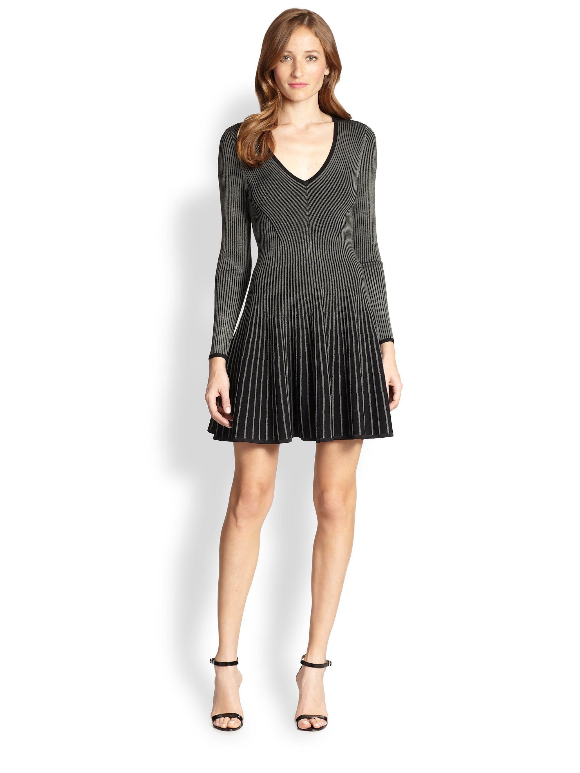 Lyst Milly Ribbed Fit Flare Dress In Black