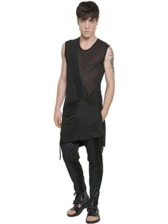Lyst - Tom Rebl Sleeveless Extra Long Cotton T-shirt in Black for Men 662f4415f23