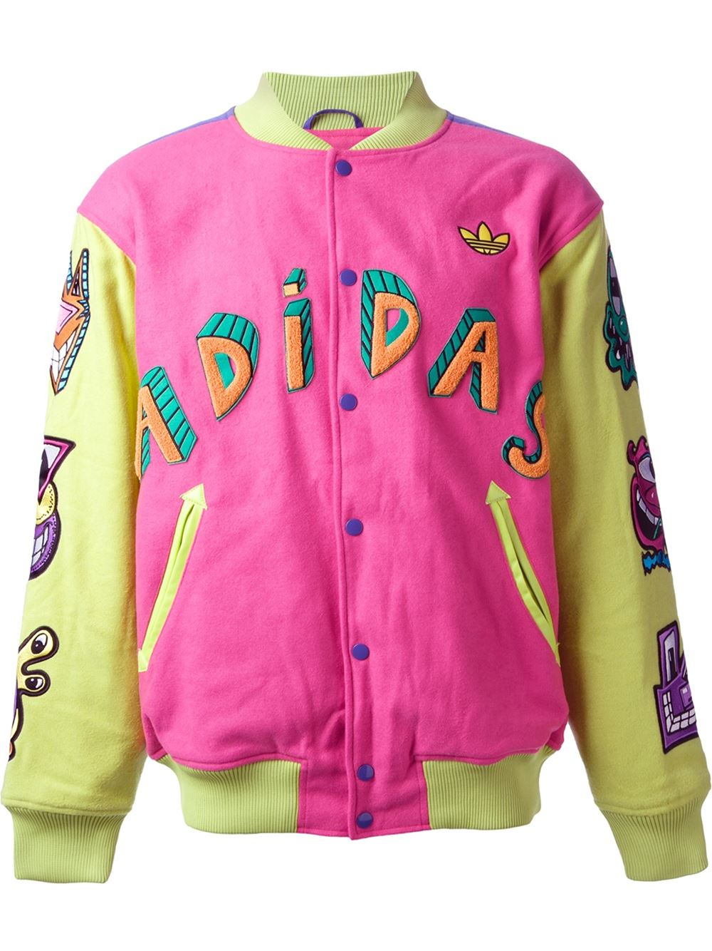6308f2fc442a adidas Jeremy Scott Embroidered Bomber Jacket in Pink for Men - Lyst