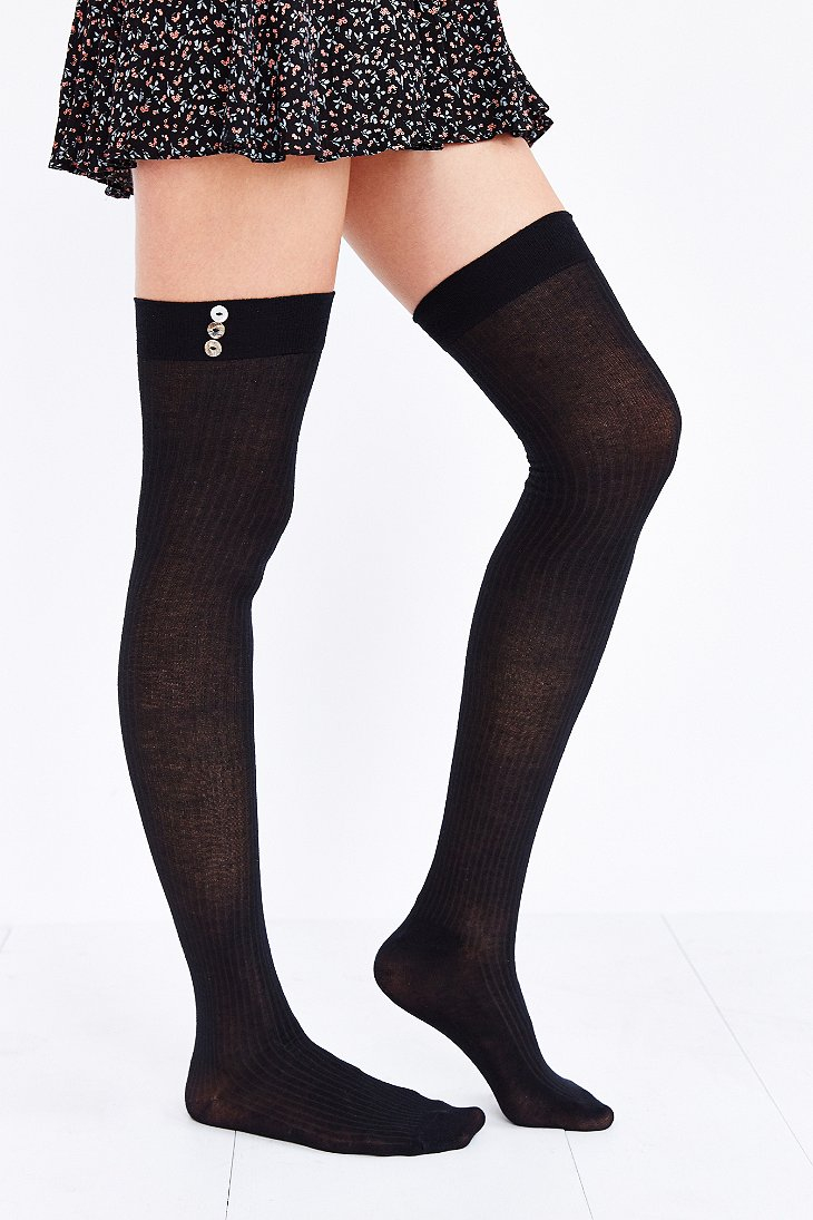 ed8c2bec33a Urban Outfitters Lightweight Button-Rib Over-The-Knee Sock in Black ...