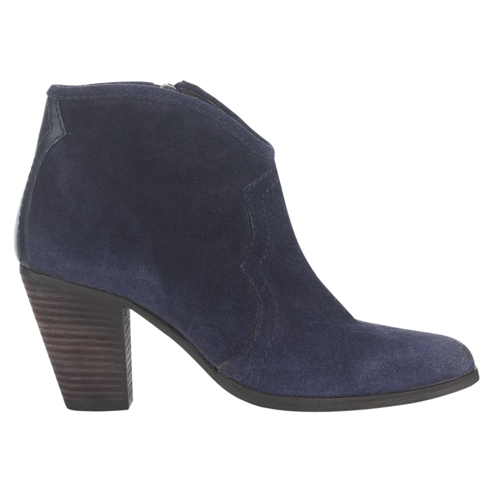 jigsaw cara suede heeled ankle boots in blue navy lyst