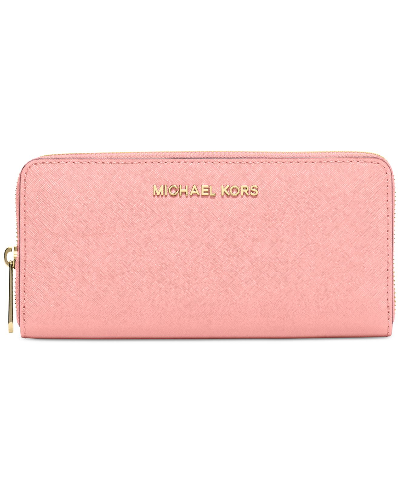1118183ed451 Michael Kors Michael Travel Zip Around Continental Wallet in Pink - Lyst