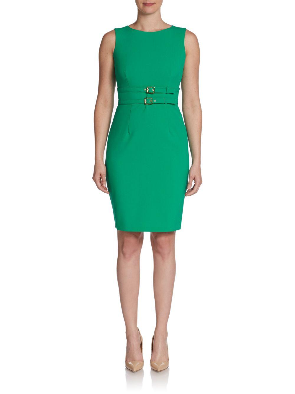 Lyst - Calvin Klein Double Belted Sheath Dress in Green