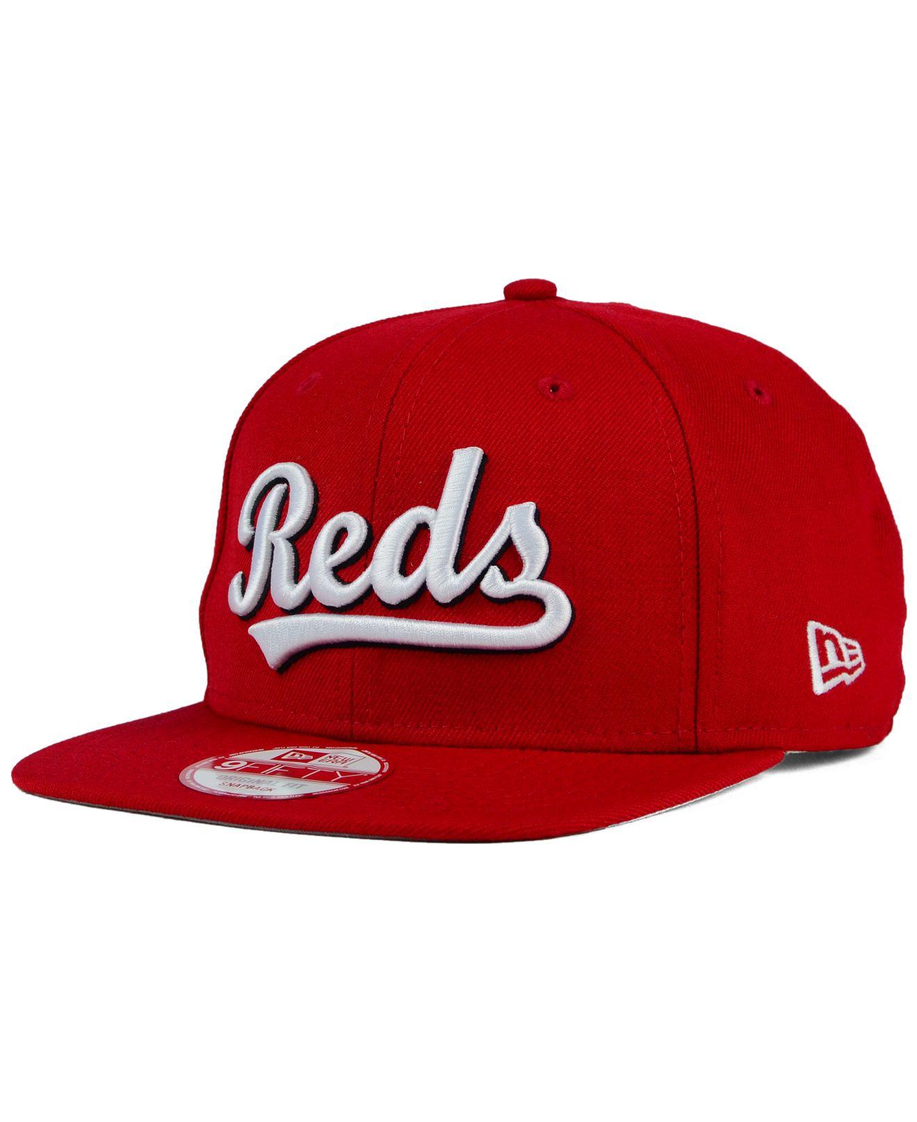 62b82189 ... order lyst ktz cincinnati reds xl script 9fifty snapback cap in red for  men d58be f3753