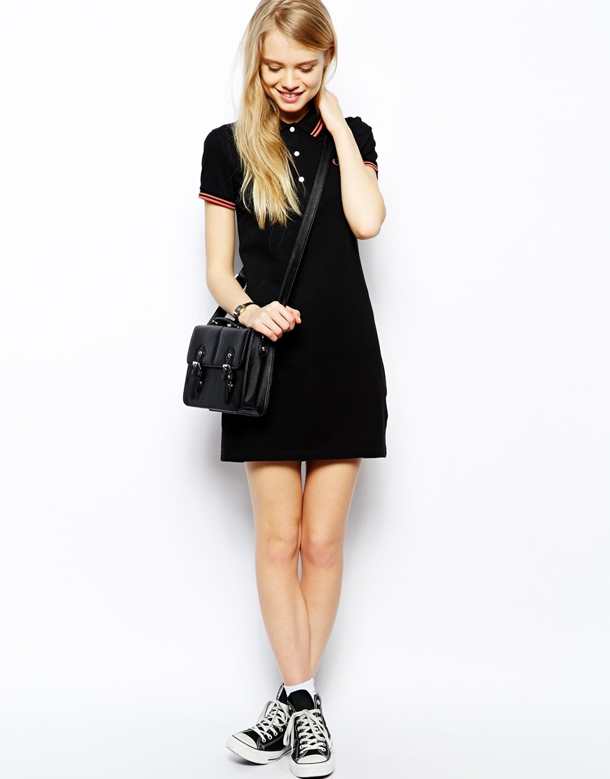 Fred Perry Polo Dress In Black Lyst