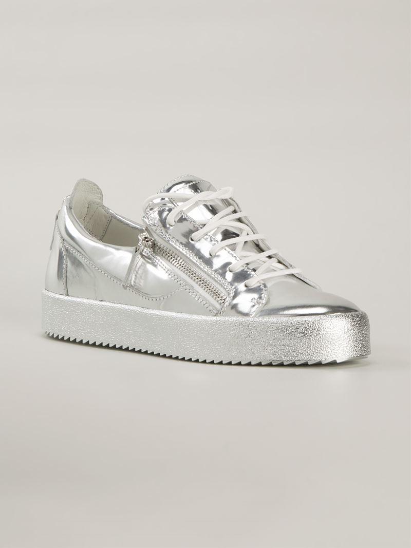 dbadad5ee8259 Giuseppe Zanotti Vegas Metallic Leather Sneakers in Metallic - Lyst