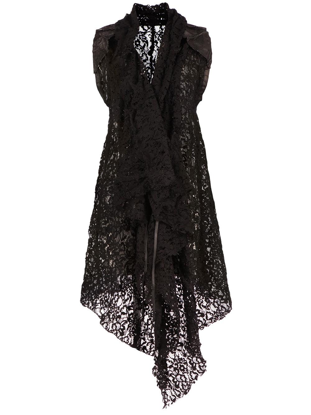 Simona tagliaferri Layered Floral Lace Cardigan in Black | Lyst