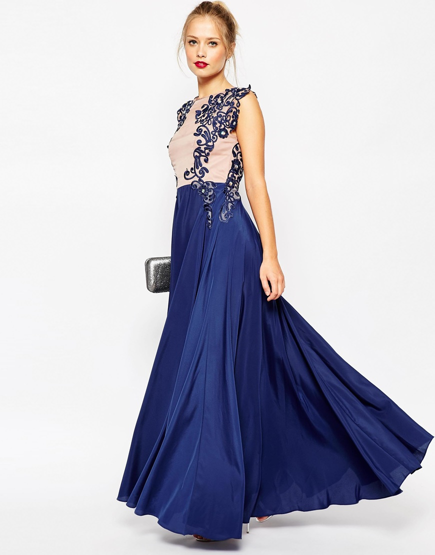 Asos Lace Placement Pretty Maxi Dress in Blue | Lyst