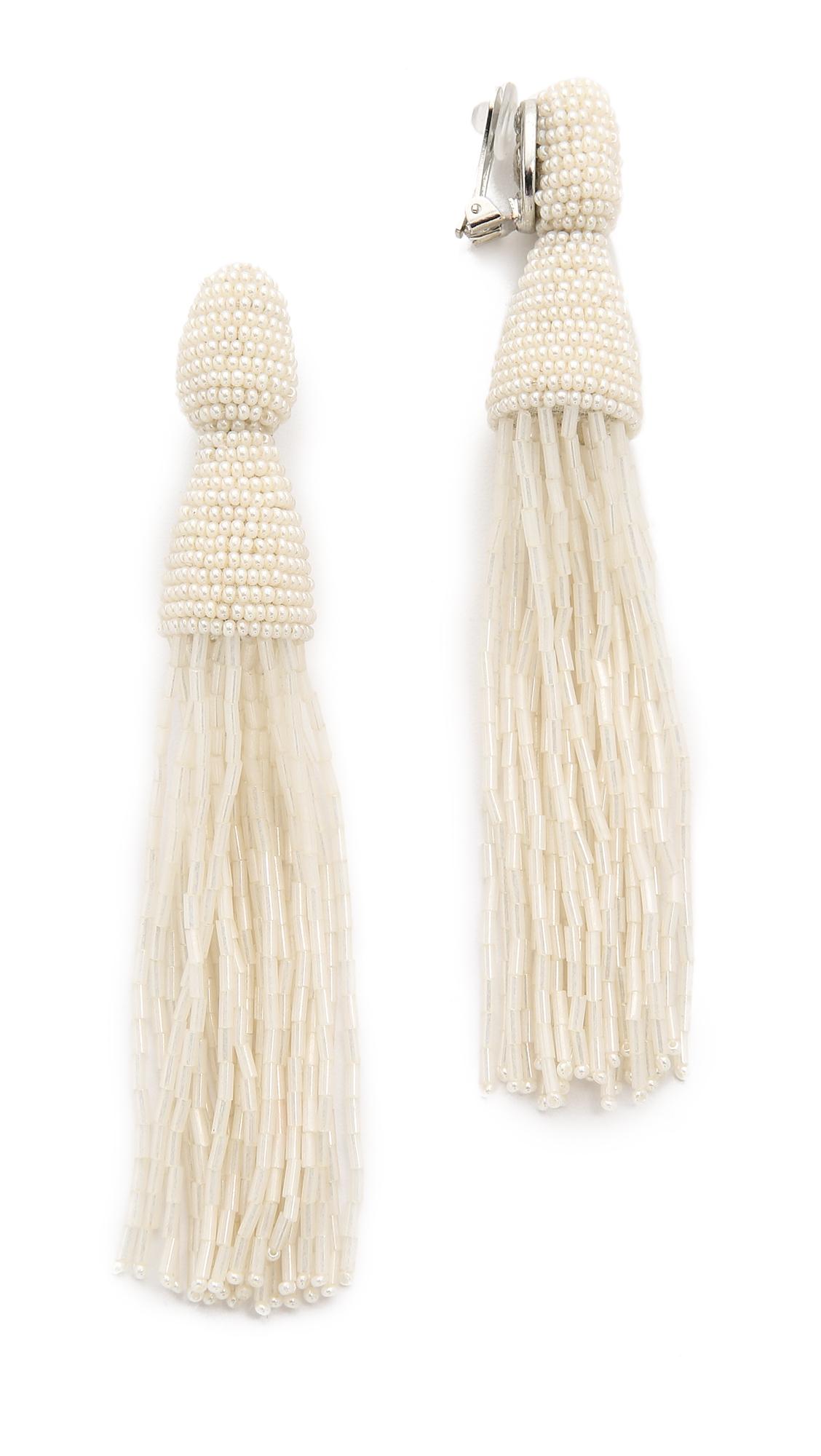 Oscar De La Renta Long Bugle Bead Tassel Clip On Earrings